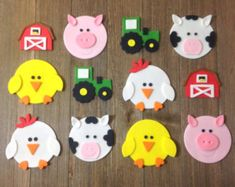 Farm Animals /Barnyard Theme Cupcake Toppers - Edible Fondant - Set of 12 - Farm Animal/Barnyard Cupcake Toppers Edible Fondant Set of Farm Animal Crafts, Farm Crafts, Animal Crafts For Kids, Summer Crafts For Kids, Toddler Crafts, Preschool Crafts, Farm Animals, Kids Crafts, Art For Kids