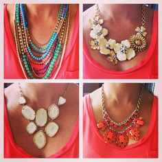 1 shirt, 4 ways. Statement necklaces by Stella & Dot.