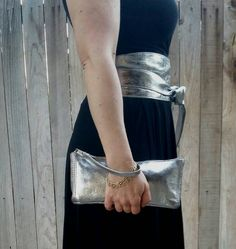 Silver leather clutch wristlet style pouch small by Fgalaze
