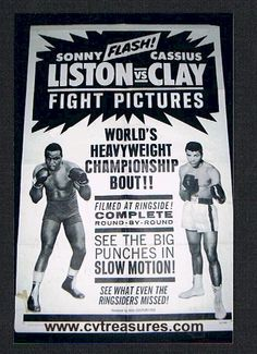 "Cassius Clay vs Sonny Liston  Original One Sheet Fight Poster (27x41""), 1964. . . Conway's Vintage Treasures   $2500"