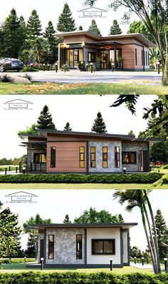 Consider this modern one-storey house design with two bedrooms - Cool House Concepts Modern Bungalow House Design, Modern Bungalow Exterior, Narrow House Designs, Modern House Facades, Simple House Design, Dream House Exterior, My House Plans, Bungalow House Plans, Craftsman Style House Plans