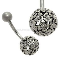 Buy now at www.bodyjewelleryshop.com - Silver Ball Belly Bar - Daisy Ball. We have the largest variety of bananabells you'll find! #bananabell #piercings #bodyjewellery @piercedfashion