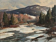 Aldro Thompson Hibbard (American, Little Ammonoosuc River Signed Cool Paintings, Landscape Paintings, Landscapes, Landscape Art, Winter Landscape, Mountain Landscape, Hudson River School, Winter Painting, White Mountains