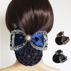 Vintage Inspired French Lace Fabric Oversized Bow with Net Snood, bun cover, big hair bow barrette, blue / black / purple bow
