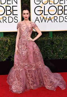 Lily Collins attends the 74th Annual Golden Globe Awards