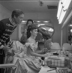 Audrey Hepburn and Mel Ferrer photographed on the set of Mayerling, 1957
