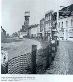 De nieuwstraat te Kerkrade met de grens.