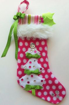 girls christmas stocking bright pink and green by matchymishka pink and green christmas pinterest bright pink stockings and bright - Girl Christmas Stocking