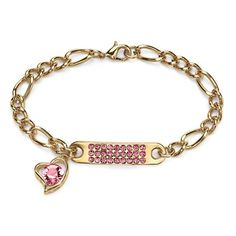 Birthstone I.D. Plaque and Heart Charm Bracelet ($24) ❤ liked on Polyvore featuring jewelry, bracelets, jewelry & watches, pink, heart charm bracelet, charm bracelet, pink heart jewelry, imitation jewellery and pink bangles