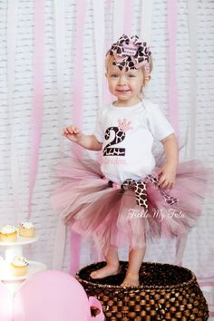 Pink and Giraffe Print Crown Number Birthday Tutu Outfit