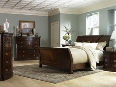Bedroom Color, Dark Wood Bedroom Set, And Ceiling Detail