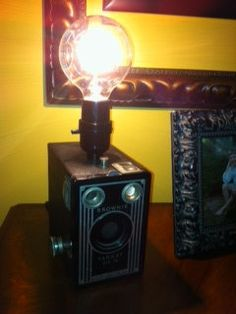 Camera Box Lamp vintage 1940's repurposed  Table Lamp  by montesanoalpacas, $59.00