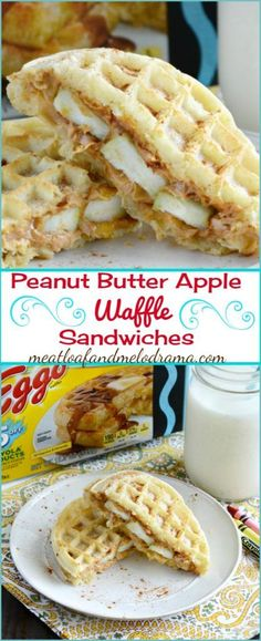 Peanut Butter Apple Waffle Sandwiches -- An easy recipe that's perfect for breakfast, lunch or  an after school snack! AD