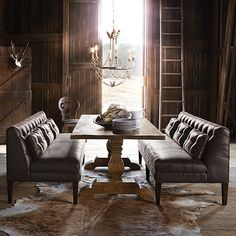 """Eaton 80"""" Recycled Leather Tufted Settee in Norre Sable Dining Room Sets, Dining Room Table, Dining Bench, Dining Chairs, Dinning Nook, Patio Table, Dining Room Furniture, Home Furniture, Furniture Ideas"""