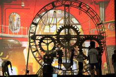 tic toc Tv Set Design, Stand Design, Event Design, Radium Girls, Father Time, Theatre Design, Red Curtains, Stage Decorations, Stage Set