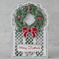 Holiday Cards, Christmas Cards, Merry Christmas, Holiday Decor, Holly Wreath, Shaped Cards, Holly Leaf, Heartfelt Creations, Red Apple