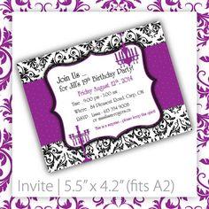 Birthday Party Invitations . PRINTABLE . Classic Demask : Purple ~ $20.00 ~ Damask Invitation, printable Damask Invitation, Damask Invite, classy invitation, Damask birthday Invitation, Damask birthday Invite, fancy birthday Invitation, fancy Damask Invitation, classic invitation, purple damask, 30th birthday, 40th birthday, 50th birthday, ladies retirement #damaskinvitation #damaskbirthday #birthdayparty ~ https://www.etsy.com/listing/76277233
