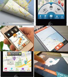 Map UI Designs Elements  (bottom right)  - Use of colors (orange, blue)   - Blue pattern background behind states