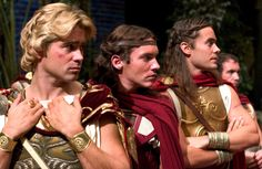 """Colin Farrell (Alexander the Great), Jonathan Rhys Meyers (Cassander) and Jared Leto (Hephaestion) in """"Alexander"""" (2004)."""