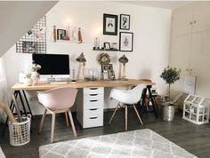 Shared Office Space Ideas For Home amp; Work Planning a shared office space for home or work Get some design inspiration for your office for two from these decorating and organizing tips! Home Office Space, Home Office Design, Home Office Decor, Home Decor, Shared Office Spaces, Bedroom Office, Ikea Office, Work Spaces, Home Office Inspiration