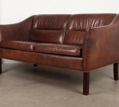 Really want this :( Two seat brown leather sofa | CHASE & SORENSEN // DANISH MODERN FURNITURE & HOME DÉCOR