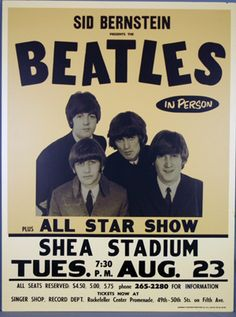 The Beatles Metal Tin Sign in Person All Star Show Shea Stadium 8 23 Concert Beatles Poster, Les Beatles, Gig Poster, Tour Posters, Band Posters, Event Posters, Vintage Concert Posters, Vintage Posters, Retro Posters