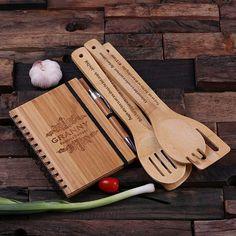 Spiral Bamboo Notebook, Pen and 4 Kitchen Utensils