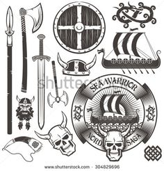 Set for Viking logo. Viking emblem with ship, horned skull. Shield, sword, ax, horned helmet, viking head,  drakkar,  horn, dragon. - stock vector