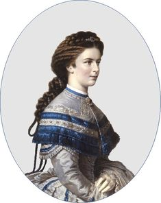 """Portrait by unknown artist of  Empress Elisabeth """"Sissi"""" (Elisabeth Amalie Eugenie) (24 Dec 1837-10 Sep 1898) Bavaria  in grey day dress with blue fringe & ruffled lace & sapphire & diamond jewelry & sapphire & diamond star hairpiece at the Sissi Museum in Vienna, Austria. Sissi was the wife of Emperor Franz Joseph I (18 Aug 1830-21 Nov 1916) Austria."""