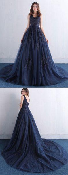 Amazing dark blue v neck lace tulle long prom dress, lace evening dress