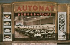 Horn and Hardart Automat. As a child the first thing I wanted to do on coming to New York is visit a Horn and Hardart Automat. My father the food snob was horrified, but I loved it. A Dime, American Spirit, Hot Coffee, Horns, Poster Size Prints, New York City, Online Printing, City Photo, Art Deco