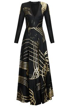 Black and gold ribbon rays flared gown available only at Pernia's Pop Up Shop..#shopnow #perniaspopupshop #newcollection #clothing #urvashijoneja #festive