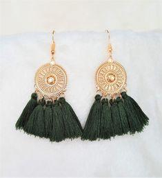 Tassel Earrings on Gold tone Metal Disc Green Olive,Dangle Drop Earring,Hoop Earrings, Bohemian Jewelry, Statement Earrings, Beach Earrings