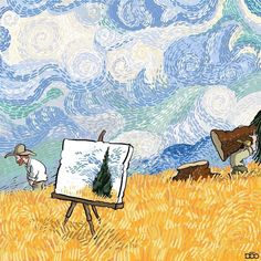 Iranian cartoonist Alireza Karimi Moghaddam shares his admiration for Vincent van Gogh in an ongoing comic series starring the Post-Impressionist painter. Van Gogh Pinturas, Vincent Van Gogh, Most Famous Artists, Most Famous Paintings, Illustration Arte, Illustrations, Creative Illustration, Wassily Kandinsky, Van Gogh Arte