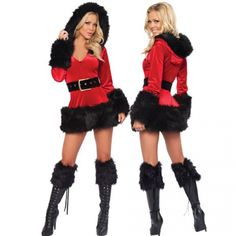 Miss Santa Costume 3pc Schwarz