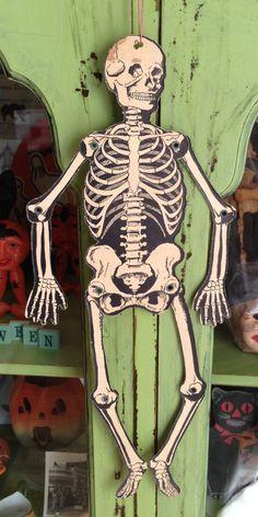 Vintage Halloween Mechanical Skeleton Beistle by santashauntedboot