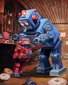 Eric Joyner - L'artista che ama dipingere robot e donut Eric Joyner, Steampunk, Retro Robot, Robot Concept Art, Art Corner, Lowbrow Art, Science Fiction Art, Retro Futurism, Sci Fi Art