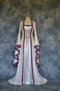 Mara ,a Medieval, Renaissance, Larp, Pagan, Pre-Raphaelite Custom Made Wedding Gown