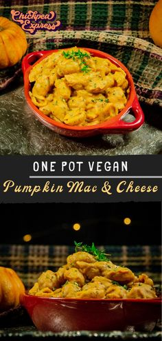 vegan mac and cheese with a fall twist, pumpkin! This one pot pasta is quick and easy, healthy and makes the perfect vegan dinner. Pumpkin Mac And Cheese, Mac And Cheese Homemade, Vegan Mac And Cheese, Vegetarian Thanksgiving, Thanksgiving Recipes, Fall Recipes, Vegan Pumpkin, Pumpkin Recipes, Veggie Diet