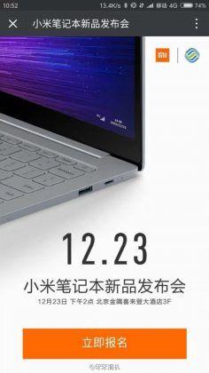 In arrivo uno Xiaomi Mi Notebook con Intel Core i7 e supporto 4G? http://www.sapereweb.it/in-arrivo-uno-xiaomi-mi-notebook-con-intel-core-i7-e-supporto-4g/        Xiaomi Mi Notebook 4G Dopo aver debuttato nel mercato dei notebook con ilMi Notebook Air, quest'oggi spunta in rete unnuovo teaser dell'azienda cinese. Stando a quanto riportato nell'immagine, i riferimenti sono ad una evoluzione del settore PC, annunciando un eventoil prossimo23 dic...
