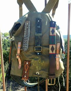 Vintage Boyscouts Yucca Back Pack Military Canvas Duffle Bag with Vintage Belts