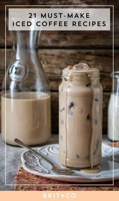 Upgrade your coffee with this variety of quick + easy iced coffee recipes to keep cool during the spring and summer. Save this to find iced coffee recipes that incorporate condensed milk, vanilla, almond, macadamia, cookies and cream, mocha, salted chocolate, caramel, Kahlua + cinnamon dolce in various forms like frappes, cappuccinos, milkshakes, cold brews, ice cubes and popsicles.