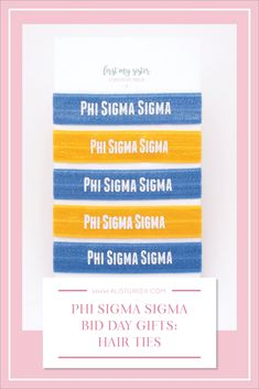 Sorority hair ties are the easiest gift for any celebration: Recruitment, Bid Day, Back to School & Big/Little. Phi Sigma Sigma Gifts   Phi Sigma Sigma Bid Day   Phi Sig Hair Ties   Phi Sigma Sigma Recruitment   Sorority Bid Day   Sorority Recruitment   Sorority Hair Tie Gifts   Sorority College Gift   Sorority New Member Gift Ideas #BidDayGifts #SororityHairTies Delta Chi, Phi Sigma Sigma, Gamma Phi Beta, Sorority Bid Day, College Sorority, Sorority Recruitment, Bid Day Gifts, Bid Day Themes, Kappa Alpha Theta