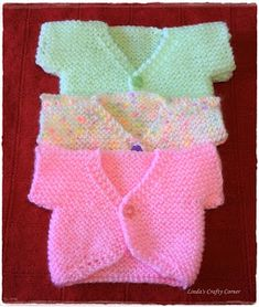 "Sweet Little Baby Tops - Free Knitting Pattern ""Baby Knitting Patterns Small Baby Cardi Pattern by Theresa Roberts."", ""Sweet Little Baby Tops - Free Kni Knitting Dolls Clothes, Baby Doll Clothes, Doll Clothes Patterns, Preemie Clothes, Knitting For Charity, Knitting For Kids, Easy Knitting, Baby Cardigan Knitting Pattern, Baby Knitting Patterns"