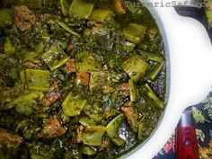 """Turmeric and Saffron: Khoresh Karafs - Celery Stew 1 lb beef or lamb, cubed; 1 large chopped onion; 1 head celery cut in 1"""" pieces; 2 bunches chopped parsley; 1 bunch chopped mint; 2 cloves minced garlic; 1/2 tsp turmeric; salt & pepper to taste; veg oil for frying - 2 to 3 Tbsp per pan; water. Heat oil in large saucepan. Saute onion; add turmeric, garlic, sauté. add and Brown meat, salt, pepper. 2 c water, boil then reduce. Brown veg in sep pan; add to meat; cook low 1.5 hrs. Add lime nr…"""