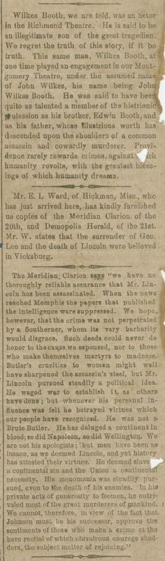 Reports and editorial comments about the assassination of President Lincoln. Abraham Lincoln Family, Shelby Foote, Lincoln Assassination, Self Deprecating Humor, Local Paper, April 24, Founding Fathers, Daily Mail, Alabama