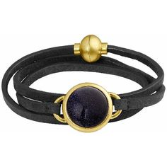 Dark blue sandstone, black leather and golden clasps and frames are the #BlackAndGold beauty of this wrap bracelet - by Danish jewelry designer Sence Copenhagen.