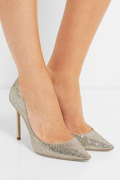 Heel measures approximately 100mm/ 4 inches Gold and silver glittered leather Slip on Made in Italy