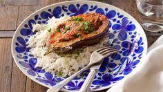 Mediterranean lamb in baked eggplant