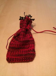 Woven Soft Red Drawstring Pouch by TwiceisNiceBooBooRug on Etsy, $12.00